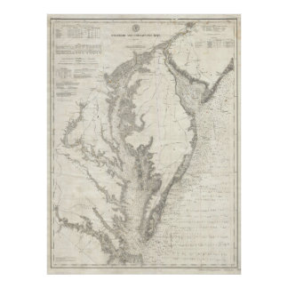 Vintage Map of The Chesapeake Bay (1893) Poster