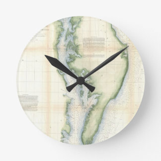Vintage Map Of The Chesapeake Bay Round Wall Clocks