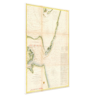 Vintage Map of The Chesapeake Bay Entrance (1855) Canvas Print