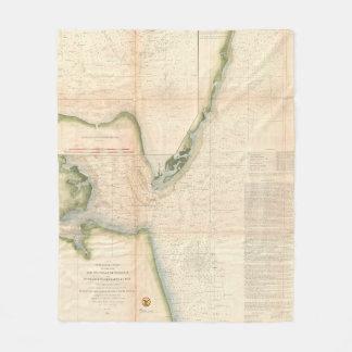 Vintage Map of The Chesapeake Bay Entrance (1855) Fleece Blanket