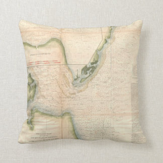 Vintage Map of The Chesapeake Bay Entrance (1855) Throw Pillow