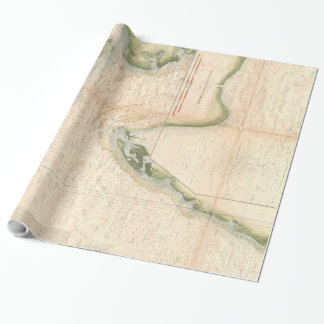 Vintage Map of The Chesapeake Bay Entrance (1855) Wrapping Paper