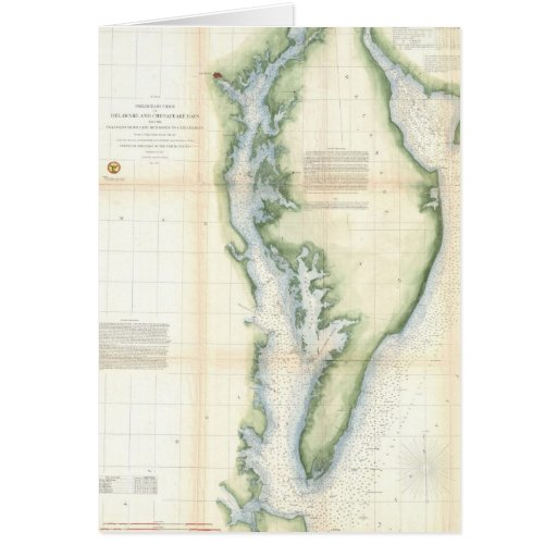 Vintage Map of the Chesapeake Bay Greeting Cards