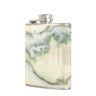 Vintage Map of The Chesapeake Bay Hip Flask