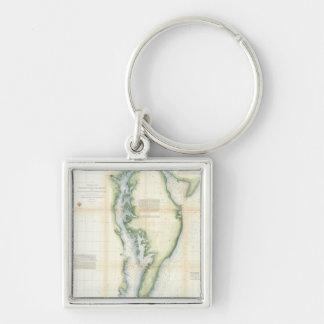 Vintage Map of the Chesapeake Bay Keychain