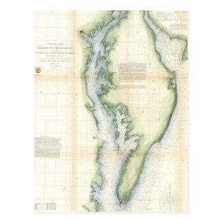 Vintage Map of the Chesapeake Bay Postcard