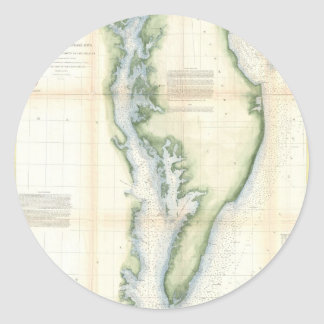 Vintage Map of the Chesapeake Bay Classic Round Sticker