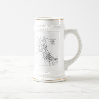 Vintage Map of The Chicago Railroad Network (1913) Beer Stein