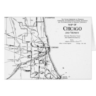 Vintage Map of The Chicago Railroad Network (1913) Card