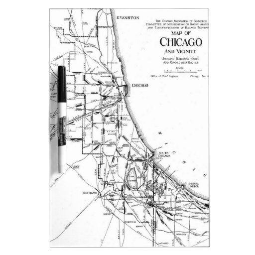 Vintage Map of The Chicago Railroad Network (1913) Dry Erase Whiteboard