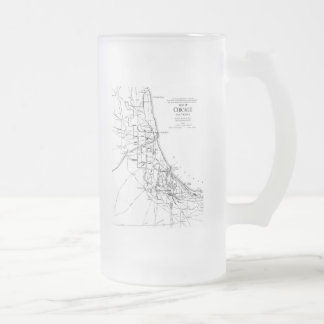 Vintage Map of The Chicago Railroad Network (1913) Frosted Glass Beer Mug