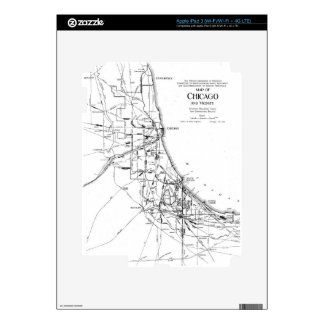 Vintage Map of The Chicago Railroad Network (1913) iPad 3 Skins