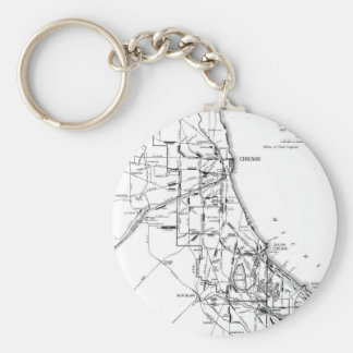 Vintage Map of The Chicago Railroad Network (1913) Keychain