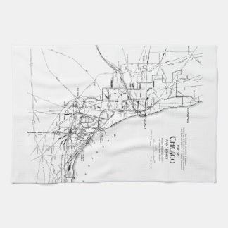 Vintage Map of The Chicago Railroad Network (1913) Kitchen Towel