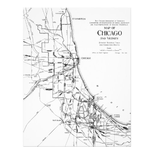 Vintage Map of The Chicago Railroad Network (1913) Letterhead Design
