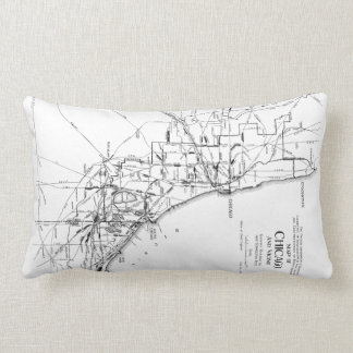 Vintage Map of The Chicago Railroad Network (1913) Throw Pillow