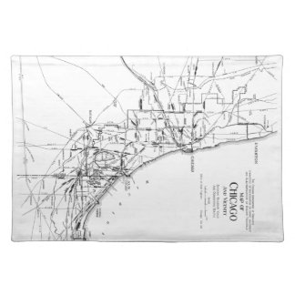 Vintage Map of The Chicago Railroad Network (1913) Placemat