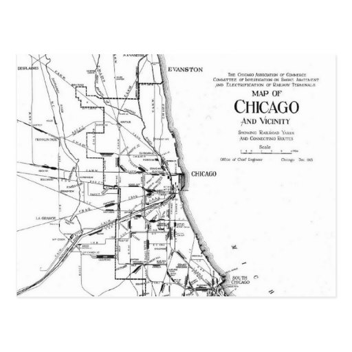 Vintage Map of The Chicago Railroad Network (1913) Postcard