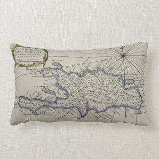 Vintage Map of The Dominican Republic (1750) Lumbar Pillow