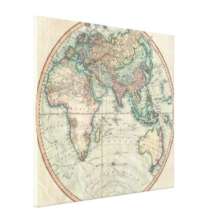Vintage Map of The Eastern Hemisphere (1801) Canvas Print