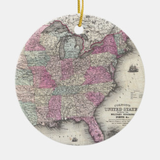 Vintage Map of The Eastern United States (1862) Ceramic Ornament
