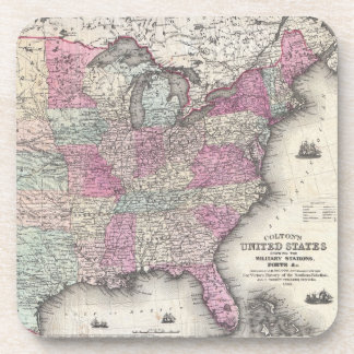 Vintage Map of The Eastern United States (1862) Drink Coasters