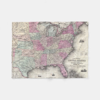 Vintage Map of The Eastern United States (1862) Fleece Blanket