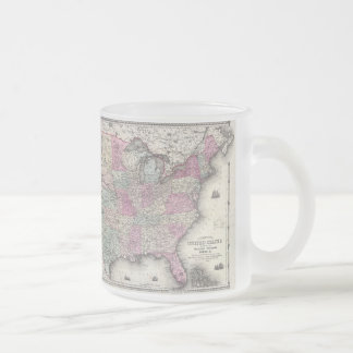 Vintage Map of The Eastern United States (1862) Frosted Glass Coffee Mug