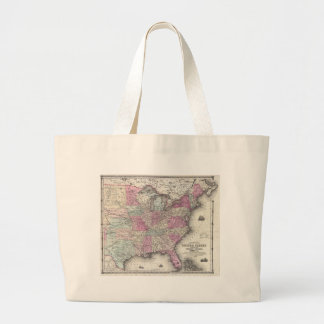 Vintage Map of The Eastern United States (1862) Large Tote Bag