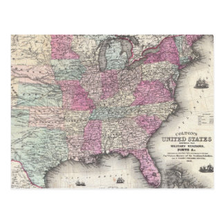 Vintage Map of The Eastern United States (1862) Postcard