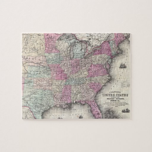 Vintage Map of The Eastern United States (1862) Puzzles