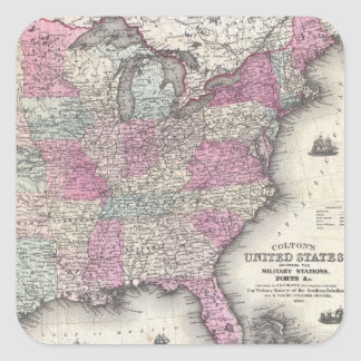 Vintage Map of The Eastern United States (1862) Square Sticker