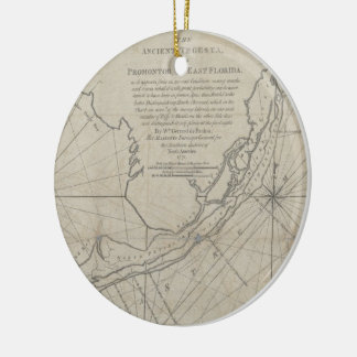 Vintage Map of The Florida Keys (1771) (2) Ceramic Ornament