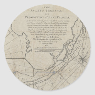 Vintage Map of The Florida Keys (1771) (2) Classic Round Sticker