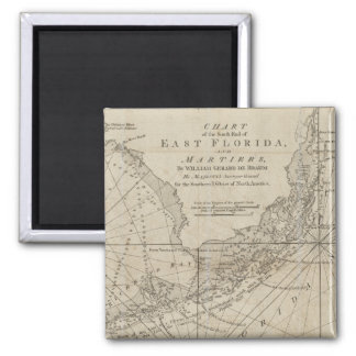 Vintage Map of The Florida Keys (1771) 2 Inch Square Magnet
