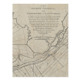 Vintage Map of The Florida Keys (1771) (2) Postcard