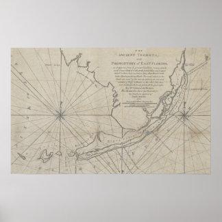 Vintage Map of The Florida Keys (1771) (2) Poster