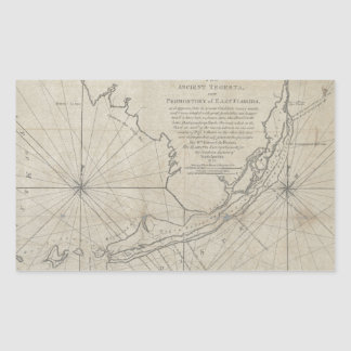 Vintage Map of The Florida Keys (1771) (2) Rectangular Sticker