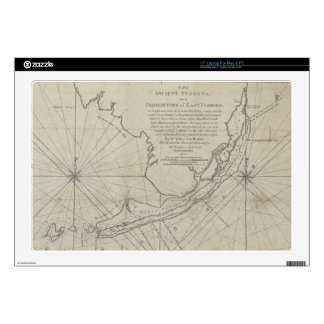 "Vintage Map of The Florida Keys (1771) (2) Decals For 17"" Laptops"