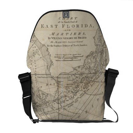 Vintage Map of The Florida Keys (1771) Courier Bag