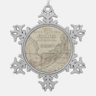 Vintage Map of The Florida Keys (1771) Snowflake Pewter Christmas Ornament