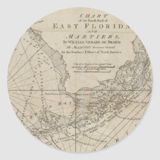 Vintage Map of The Florida Keys (1771) Classic Round Sticker