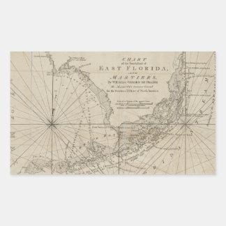 Vintage Map of The Florida Keys (1771) Rectangular Sticker