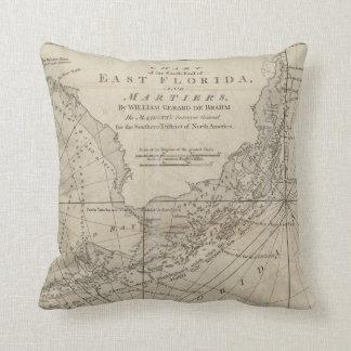 Vintage Map of The Florida Keys (1771) Throw Pillow