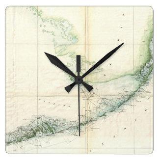 Vintage Map of The Florida Keys (1859) Square Wall Clocks