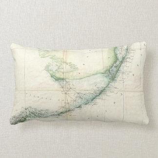 Vintage Map of The Florida Keys (1859) Throw Pillows
