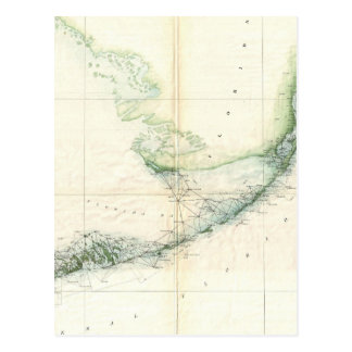 Vintage Map of The Florida Keys (1859) Postcard