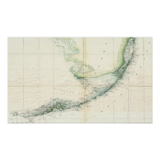 Vintage Map Of The Florida Keys (1859) Poster at Zazzle