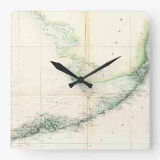 Vintage Map of The Florida Keys (1859) Square Wall Clock