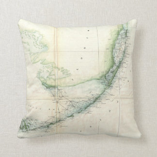 Vintage Map of The Florida Keys (1859) Throw Pillow